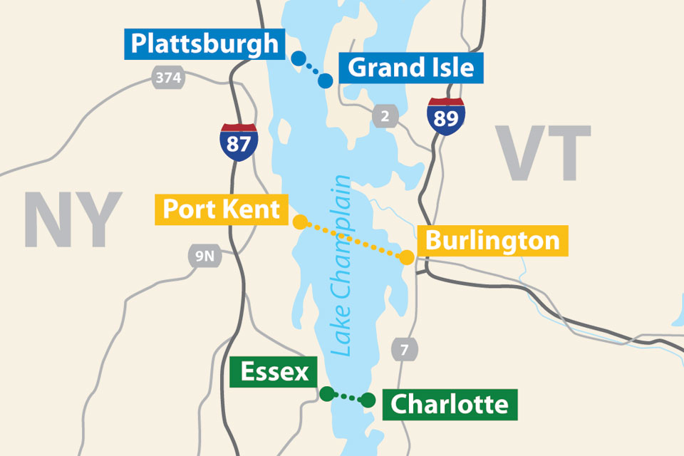 Map Of New York Vermont Border.Vermont New York Lake Champlain Ferry Crossing Overview Lake